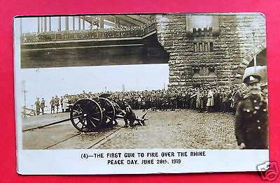 WW1: First Gun to Fire Over the Rhine Peace Day, June 28th 1919 - RP PC (P1633)