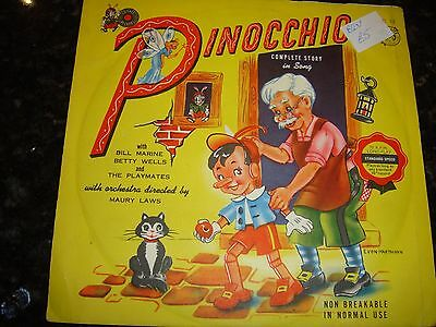 "Pinocchio 7"" 78 Cricket Records C12  Pollack, Jim & The Playmates VG+"