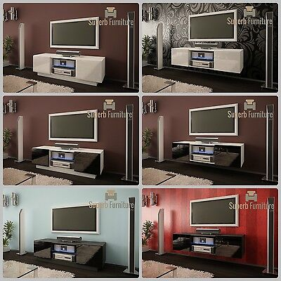 Superb TV Stand Unit Cabinet 120cm + Floating or Standing + Gloss + LED