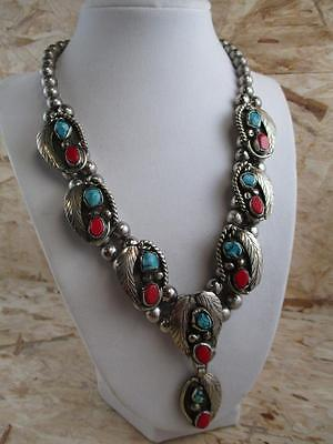 "OLD PAWN Turquoise & Red Coral Squash Blossom, 125 grams 17"", PW3"