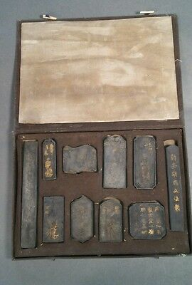 Antique 19th Century Chinese black Ink stones in box landscape Characters