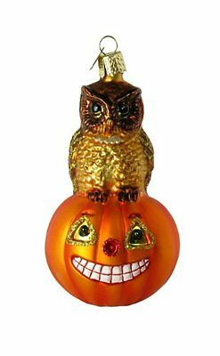 Old World Christmas Owl And Pumpkin Glass Blown Ornament