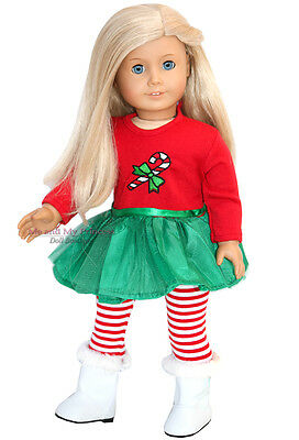 CHRISTMAS DRESS + LEGGINGS + BOOTS Outfit for 18 inch American Girl Doll Clothes
