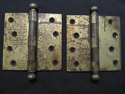 """Lot of 2 HEAVY STEEL 4"""" CANNONBALL HINGES SW Stanley Works 'Sweetheart' Logo"""