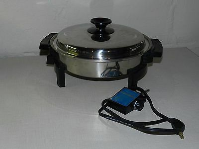 Vtg Stainless Liquid Core Electric Skillet Fryer  900 Watts