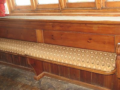 LARGE ORIGINAL PINE CHURCH PEW with cushions