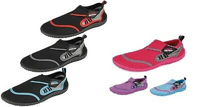 Urban Beach Mens / Ladies (Berry / Reed) Velcro AQUA WATER SHOES All Adult Sizes