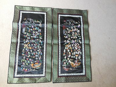 Pair Chinese (100children) Silk embroidery panels Vintage 1970