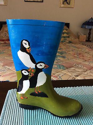 PUFFINS HAND PAINTED WELLINGTON, SIGNED, original – a planter or unique gift