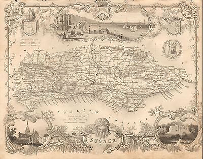 1850 Ca ANTIQUE COUNTY MAP-MOULE-SUSSEX, BRIGHTON, HASTINGS, PETWORTH,RYE
