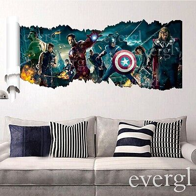 The Avengers Scroll Hero Mural Vinyl Wall Decal Sticker Removable Room Decor B