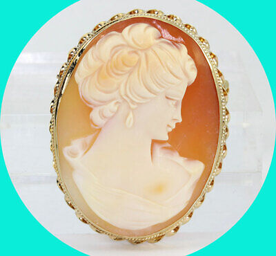 Antique cameo pin brooch pendant 14K yellow gold hand carved shell rope edge!!