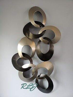 Large Modern Contemporary Style Metal Wall Panel Plaque Sculpture Art Home Decor