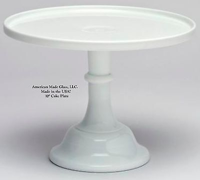 """White Milk Glass 10"""" Plain & Simple Cake Plate Bakers Stand"""