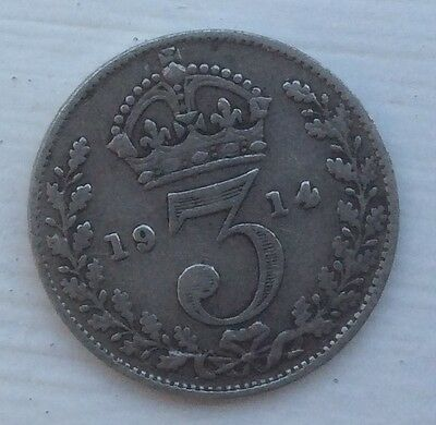 SILVER 3 PENCE COIN, DATED 1915, Very Nice Lightly Circulated Coin