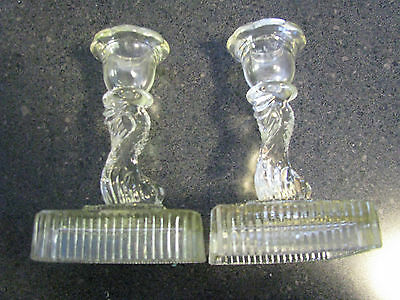 Vintage Clear Glass Dolphin Form Candlesticks Imperial