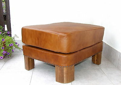 Art Deco Brown Leather Footstool, Pouffe, Ottoman. Foot Stool New Upholstery.