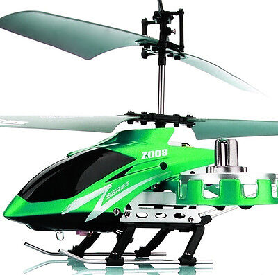 Green Z008 AVATAR 4-Channel Mini Metal RC Remote Control Helicopter Light GYRO