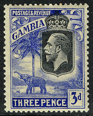 SG 128 GAMBIA 1922 - 3d BLACK & BRIGHT BLUE - MOUNTED MINT