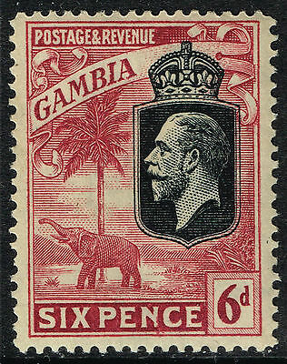 SG 131 GAMBIA 1922 - 6d BLACK & CLARET - MOUNTED MINT
