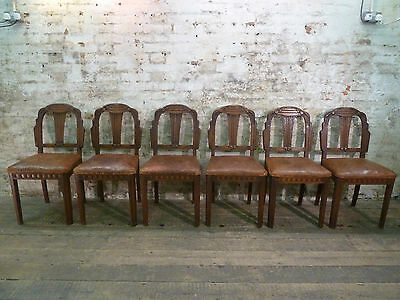 Set of 6 Vintage French Carved Oak and Leather Antique Dining Chairs Industrial