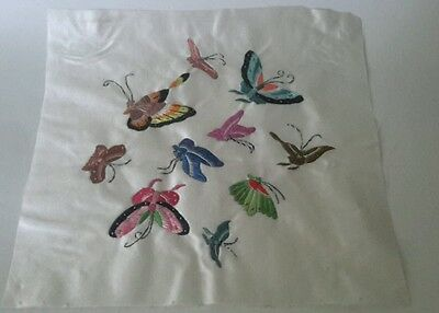 A Silk Panel Embroidered With Butterflies.