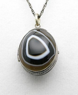 Nice Antique Sterling Silver Agate Locket Necklace