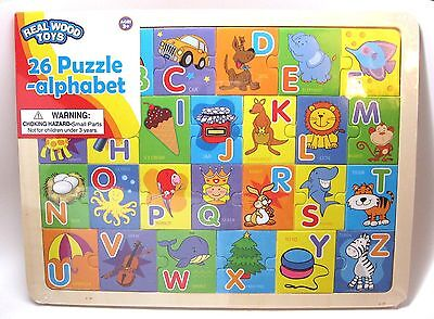REAL WOOD Alphabet Puzzle, 26 pieces NEW
