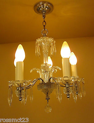 Vintage Lighting 1930s Art Deco crystal chandelier and pair sconces   Incredible