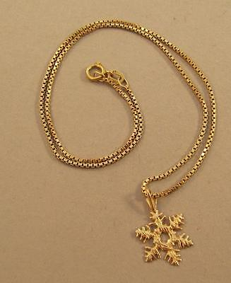 """14k Yellow Gold Snowflake Necklace on 15"""" Chain"""