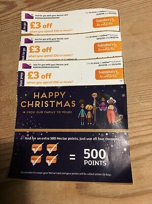 Sainsburys vouchers £3 off £30 spend over 3 weeks Total £9 saving