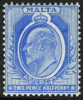 Sg 53 Malta 1911 - Twopencehalfpenny Bright Blue - Mounted Mint