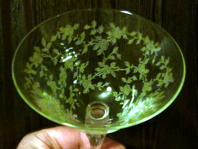 CERICE Etched Stem By TIFFIN GLASS - Tall Sherbet - Mint Condition !
