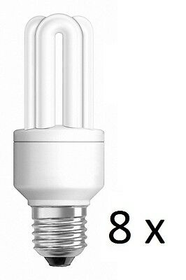 8 x Osram Compact Dulux Star Energy Saving 11w/825 Screw Fluorescent Light Bulb