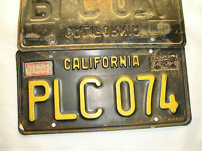 VINTAGE 1963 California Metal License Plates PAIR - Gold and Black OLD