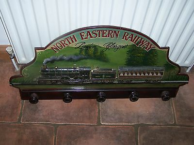 Wall Mounted Wooden Train Coat Pegs