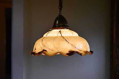BEAUTIFUL CZECH ART NOUVEAU 20's Marble Glass Pendant LIGHT Fixture