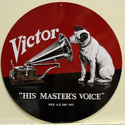 HIS MASTERS VOICE metal sign Victor RCA nipper dog heavy embossed 2130011