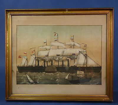 Pair Of Framed Antique French Steam Ship Coloured Prints