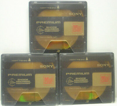 3 x SONY MiniDisc Gold Premium, MD 74, Shock Absorbing