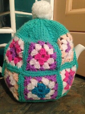TEA COSY Flower Crochet Square / Hand Knitted Tea Cosie Tea Party Kitsch Pom Pom