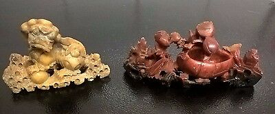Vintage Soapstone Carved Chinese Ornaments - Foo / Fu Dog and Nature Scene