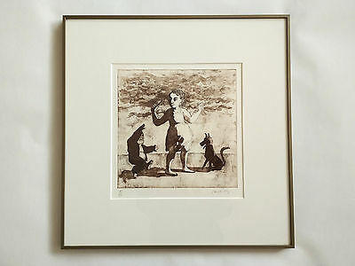 """Paula Rego, """"Girl with Little Man and Dog"""", Água-forte (etching), 15/50, 1987"""