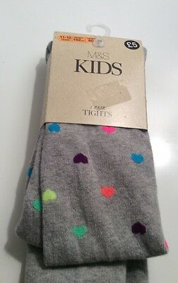 Girls M & S Grey with Hearts Tights Age 11-12 Years BNWT
