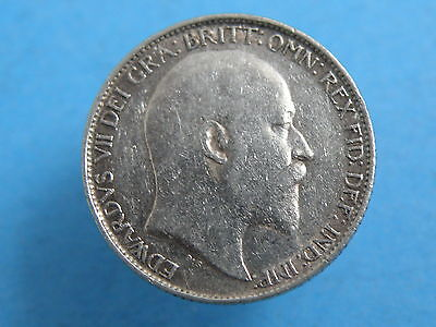 1910 King Edward VII - SILVER SIXPENCE COIN