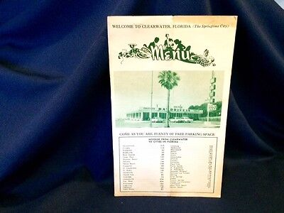 Old Bay Drive In Clearwater Florida Diner Restaurant Menu With City Mileage