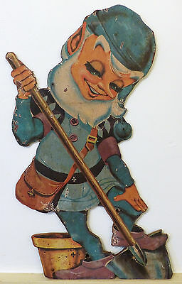 "Rare VINTAGE 1940s 24"" ELF Elves PIXIE Wood Litho SIGN Display ADVERTISING"