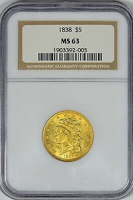 1838 $5.00 Classic Head Gold NGC MS63 - Very Scarce