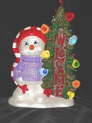 Welcome Snowman Hand Painted Ceramic Holiday Winter Greeter