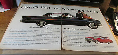 Original Old Automobile Ad- 1961 -MERCURY---{THE COMET}...2 Page Ad